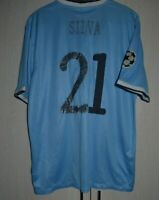 MANCHESTER CITY 2013/2014 CHAMPIONS LEAGUE FOOTBALL SHIRT JERSEY #21 SILVA - XL