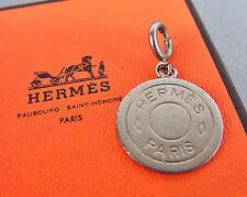 AUTHENTIC HERMES CLOUS DE SELLE SILVER TONE ROUND SHAPE MINI CHARM w/BOX