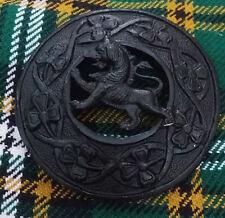 "Lion Rampant Fly Plaid Brooch Jet Black Finish 3""/Scottish Kilt Pins & Brooches"