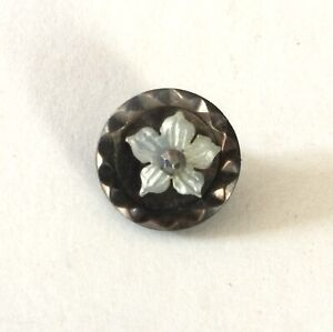 Carved Pearl Flower Cut Steel Pinshank Antique Button Old Small White Smokey