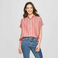 Women's Banded Striped Short Sleeve Woven Top Shirt Blouse- Universal Thread