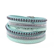 Leather Double Wrap Crystal Cuff Bracelet Pale Green