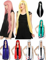 100cm Full Wig Long Straight Hair Wig Women Cosplay Party Free Wig Cap Hallowmas