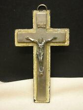 "Vintage Wall Hanging Cross Religious Metal & Wood 2 1/2"" X 4 1/2"""