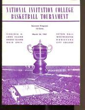 1941 NIT Finals Program LIU Ohio CCNY Seton Hall UVA RIU Rare Ex 36453