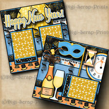Happy New Year ~ 2 premade scrapbook pages paper piecing layout ~ By Digiscrap