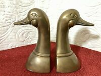 VTG MCM Solid Brass Canadian Canada Goose Head Book Ends Leonard Silver Mfg Co