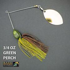 Bassdozer spinnerbaits LONG ARM OKLAHOMA 3/4 oz GREEN PERCH spinner bait lures