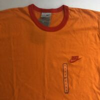 Vintage Nike Ringer T-Shirt Large Orange Red Embroidered Small Swoosh Rare 90s
