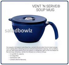 TUPPERWARE New VENT N SERVE SOUP MUG Indigo Blue ~ Microwave Fridge Freezer Safe