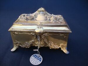 Antique Footed Jewelry Jewel Case Casket Hinged Box WB Mfg Co Weidlich Bros Key