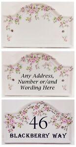 Personalised Wild Roses House Door Plaque Regency Pink Flowers Ceramic Sign