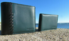NEW $195 COACH wallet 21371 baseball stitch leather ID forest green black 3 in 1