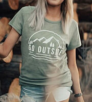 Women GO OUTSIDE Mountain Short Sleeve Blouse Casual Top Ladies Tee T-Shirt