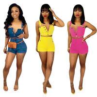 Fashion Women Casual Club Short Denim Jumpsuit Bodycon Short Jeans Pants Set 2pc