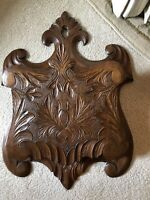 Vintage Black Forest Hand Carved Wall Pocket Letter Holder~ Ornate