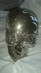 2 Pottery Barn Mercury Skulls Halloween  New with tag