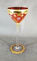 Vintage Bohemian Style Cranberry Glass Hand Painted Long Stem Large Wine Glass