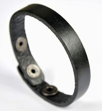 Unisex Simply Cool Single Band Surfer Genuine Leather Bracelet Wristband Black