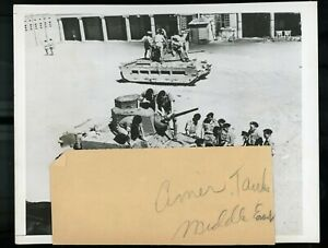 WWII Wire Service Photo British Tank Crew North Africa Examining New Light Tanks