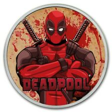 2018 1 oz Tuvalu Silver Marvel Deadpool Red Colorized Coin