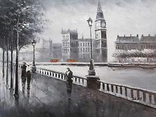 Peinture à l'Huile - Scène de Londres - Noir Blanc Rouge - Original
