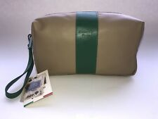•NWT• Men's Moscardini Firenze •Genuine Leather Toiletry Bag• Taupe W/Stripe!