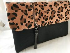 FAUX FUR LEATHER LEOPARD ANIMAL PRINT EVENING DAY NUDE TAN RED CLUTCH BAG BLACK