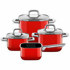 Silit Topf-Set 4-teilig Quadro Red stapelbar Made in Germany induktionsgeeignet