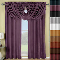 Soho Faux Silk Rod Pocket Waterfall Window Treatment Single Panel Or Valance