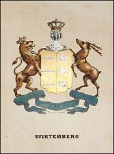 WIRTEMBERG: Stemma Araldico-Pagnoni 1863.Origin.Lithografia.Colori.Passepartout.