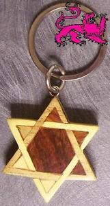 Intarsia Solid Wood Key Ring Religious Jewish Star of David NEW