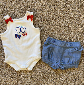 GYMBOREE STAR SPANGLED SUMMER DARLING OUTFIT 3-6 MO EUC