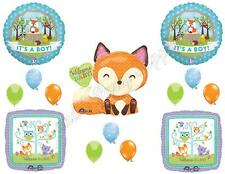 IT'S A BOY WOODLAND FRIENDS BABY SHOWER Balloons Decoration Supplies Fox Forest