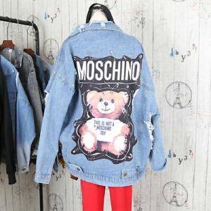 Newest fashion Teddy Bear Safety Pin Punk Rock Blue Coat Veste DENIM JACKET UK