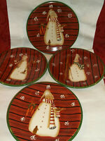 """SET OF 4 Noble Excellence SNOW MATES SALAD Plates 8.25"""" Earthenware..NEW!!"""