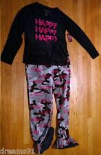 A&E Womens Duck Dynasty Happy 2 Pc Footed Pajama  PJ Camo Camouflage Top Pant L