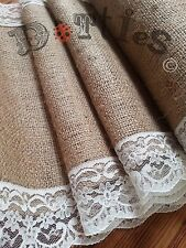 14ft Beautiful Hessian and Lace Table Runner