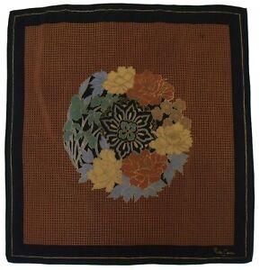 """Vintage PIERRE CARDIN Paris Signed ART NOUVEAU Floral Brown Black Silk 32"""" Scarf"""