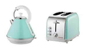 Set of Electric Kettle & Toaster, Stainless Steel -Seafoam/Mint Green