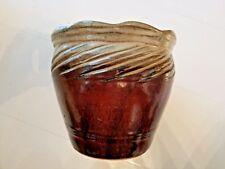 Ceramic Brown and Cream Decorative Ribbed Top Flower Pot