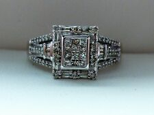 NEW Cluster Halo Solitaire 1/2ct Diamond Engagement Ring 10K White Gold Sz 8