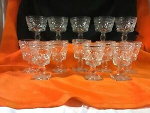 vintage glasses,five water ,eight wine ,goblets with square base