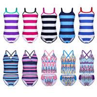 Kid Girl Bathers Bikini Swimsuit Swimwear Striped Swimmer Bathing Suit Beachwear
