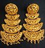 22K Gold Plated Designer Indian 1.5'' Long Earrings Jhumka Bridal set .