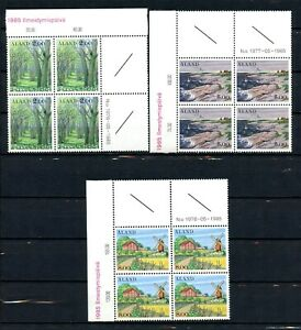 Aland MNH #14 18 19 Corner Blocks Landscapes 1985 AL117
