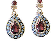 CE263 BREATHTAKING Genuine 9ct SOLID Gold Natural Garnet & Pearl Drop Earrings