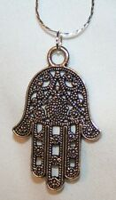 Lovely Filigree Swirled Hamsa Hamesh Silvertone Protective Hand of God Necklace