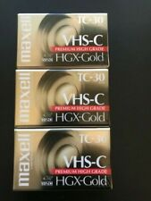 3 Sealed Maxell VHS-C Premium High Grade HGX-Gold Video Tapes
