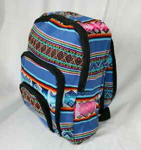 Peru Rucksack bunt gewebt klein Stoff Ethno Muster Streifen Tasche Mochila Anden